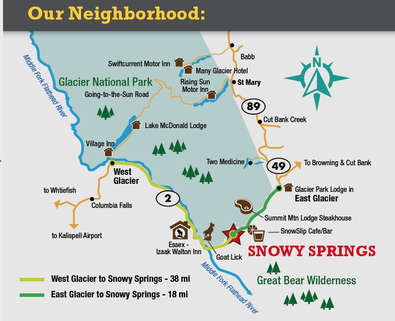 Snowy Springs Outers | horseback rides | pack trips ... on glacier natl park map, east glacier park map, glacier park peak map, glacier park hotel map, glacier montana map, many glacier hotel map, glacier park camping map, lake mcdonald lodge map,
