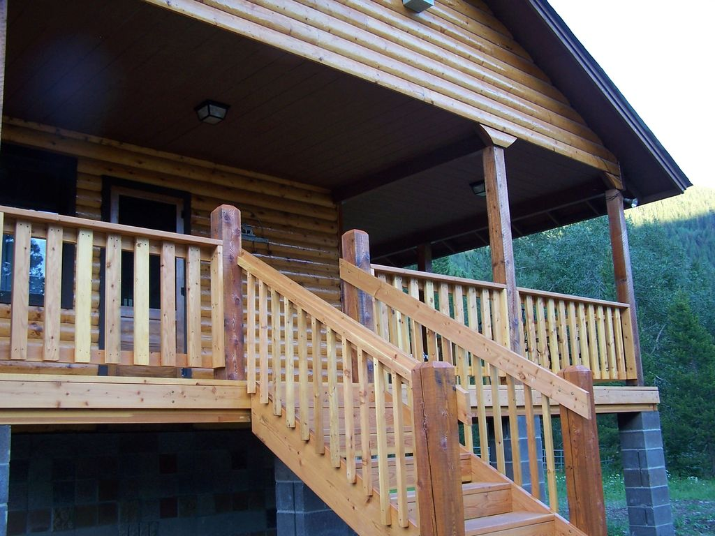 Entrance to mountain cabin and porch